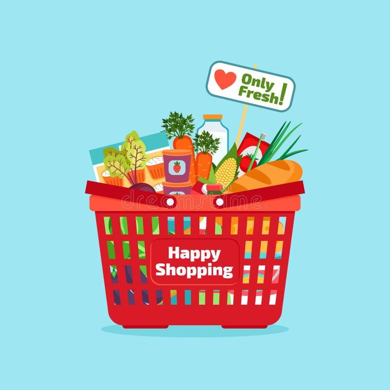 Panier à provisions de supermarché avec frais et naturel illustration stock