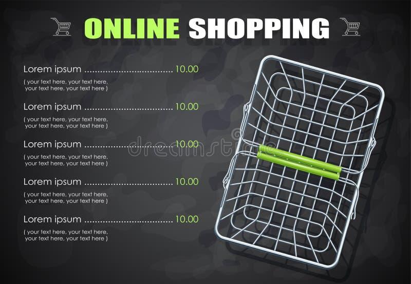Panier à provisions pour des produits de supermarché Illustration de vecteur illustration libre de droits