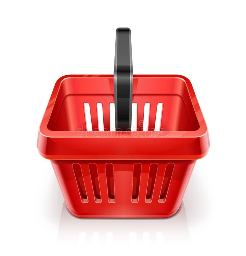 Panier à provisions rouge illustration de vecteur
