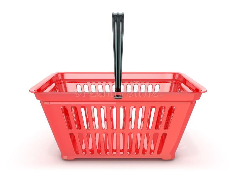 Panier à provisions rouge, vue de face 3d illustration de vecteur