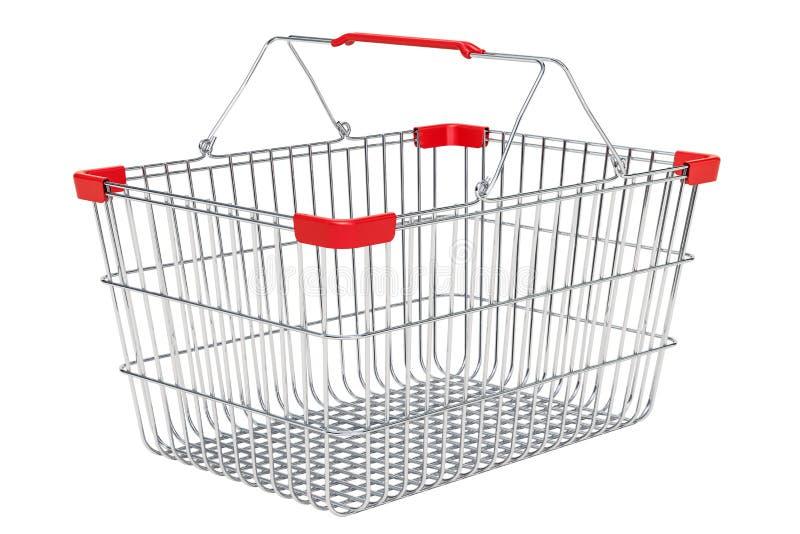 Panier à provisions vide métallique de supermarché, rendu 3D illustration libre de droits