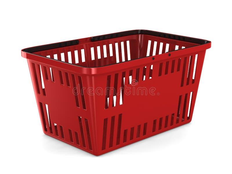 Panier à provisions vide rouge sur le fond blanc Illus 3D d'isolement illustration de vecteur