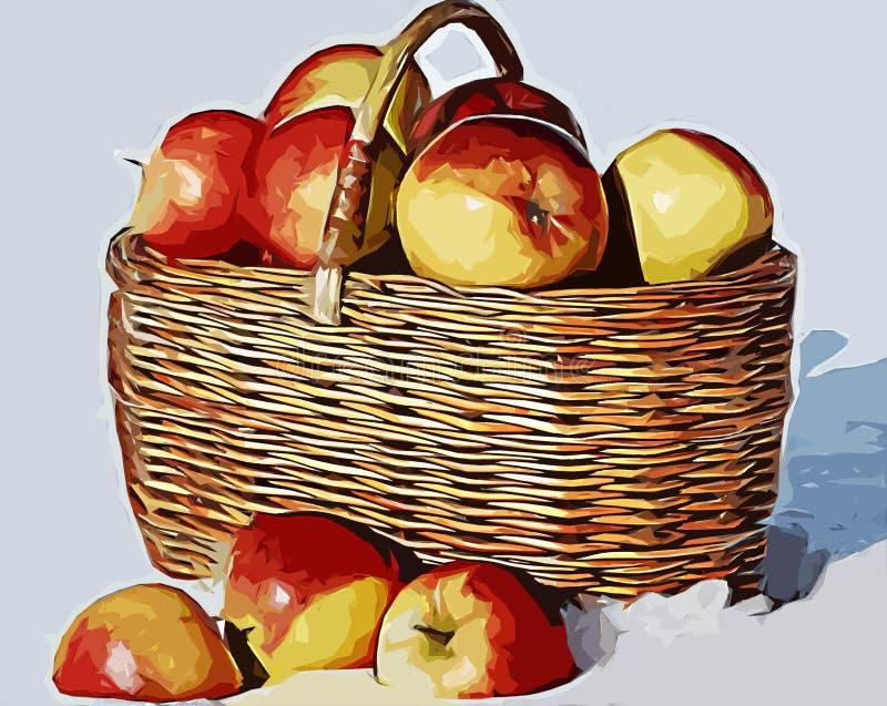 Panier avec des pommes photographie stock libre de droits