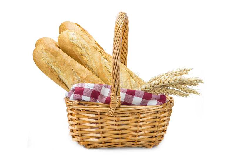 Panier avec du pain de blé image stock