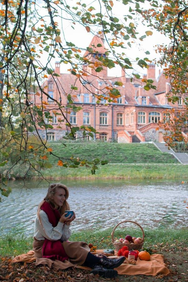 Panier avec la boulangerie Autumn Picnic de nourriture image libre de droits