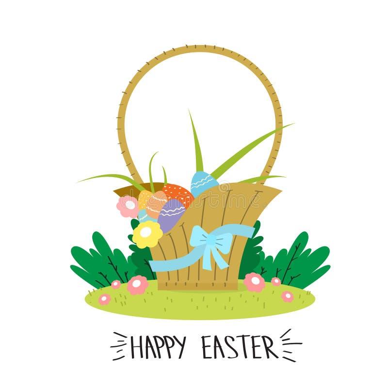 Panier avec le concept heureux de vacances de Pâques de ruban de fleurs d'oeufs illustration stock