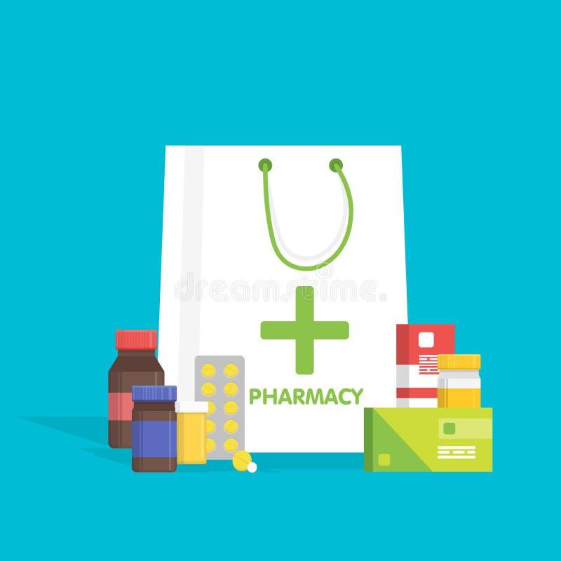 Panier blanco del estilo plano con las diversas píldoras y botellas médicas, farmacia de la atención sanitaria, farmacia Ilustrac stock de ilustración