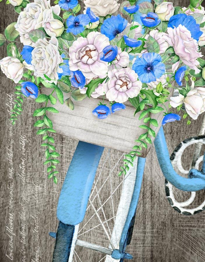 Panier bleu de bicyclette et de fleur d'aquarelle illustration libre de droits