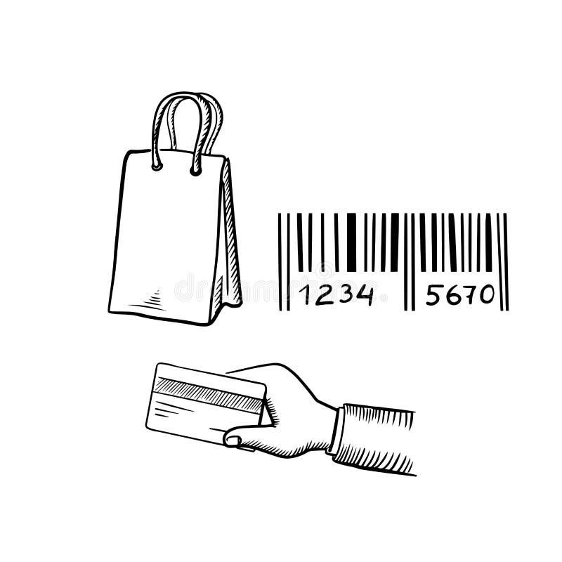 Panier, carte de crédit et croquis de code barres illustration stock