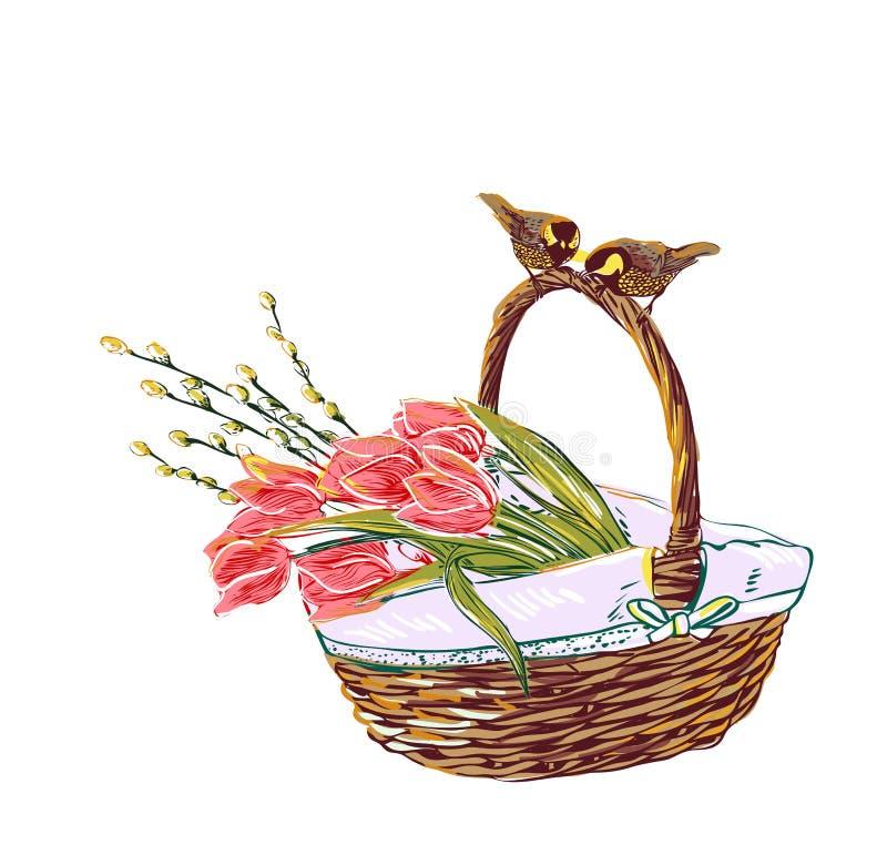 Panier coloré de fleur de conception de style de peinture de vecteur d'été illustration libre de droits
