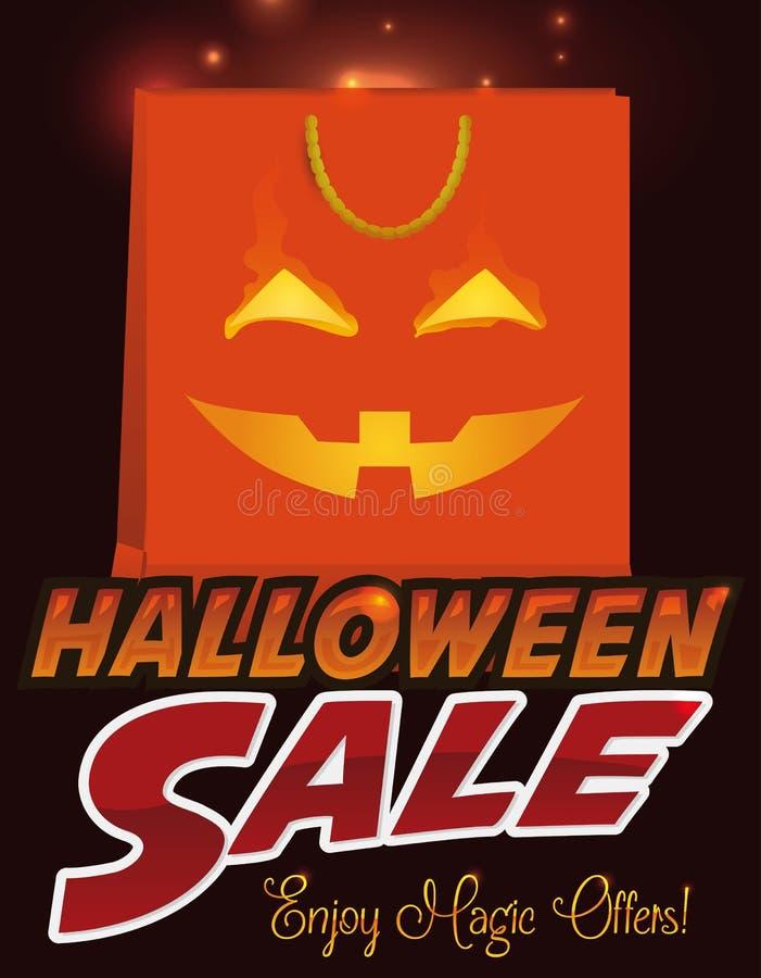Panier con el diseño de la calabaza para la venta de Halloween, ejemplo del vector ilustración del vector
