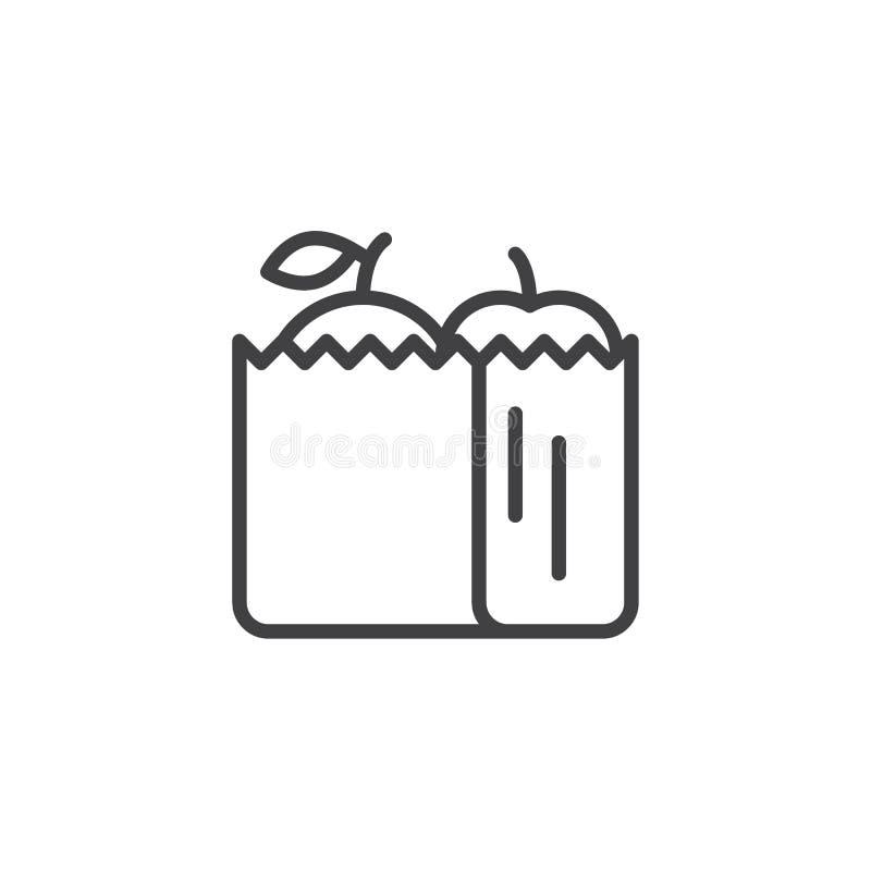 Panier con el icono del esquema de la comida libre illustration