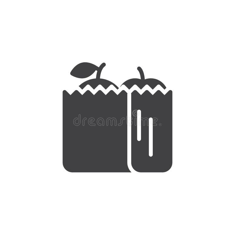 Panier con el icono del vector de la comida stock de ilustración