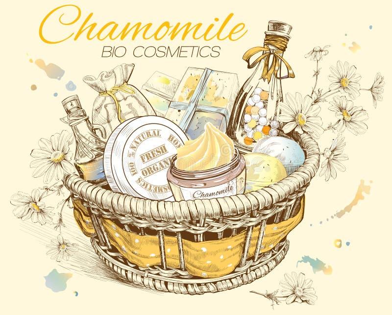Panier cosmétique naturel de camomille illustration stock