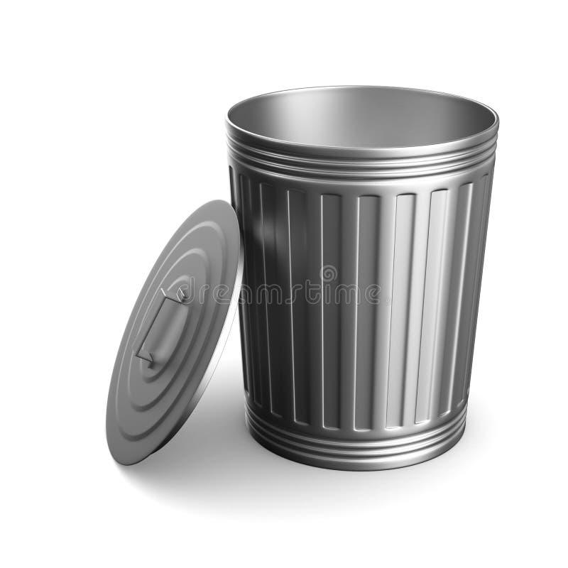 Panier d'ordures sur le fond blanc Illustration 3d d'isolement illustration stock