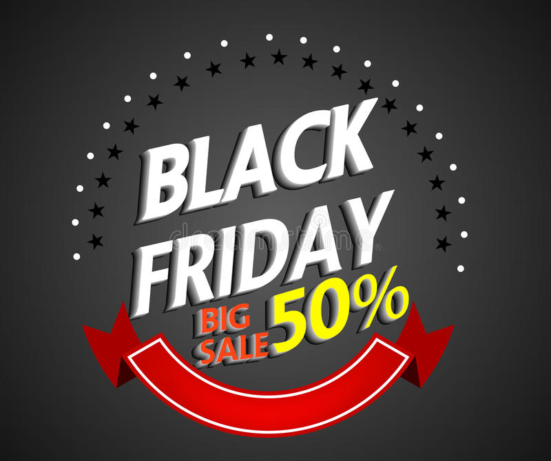 Panier de Black Friday y plantilla del márketing de la etiqueta de las ventas ilustración del vector