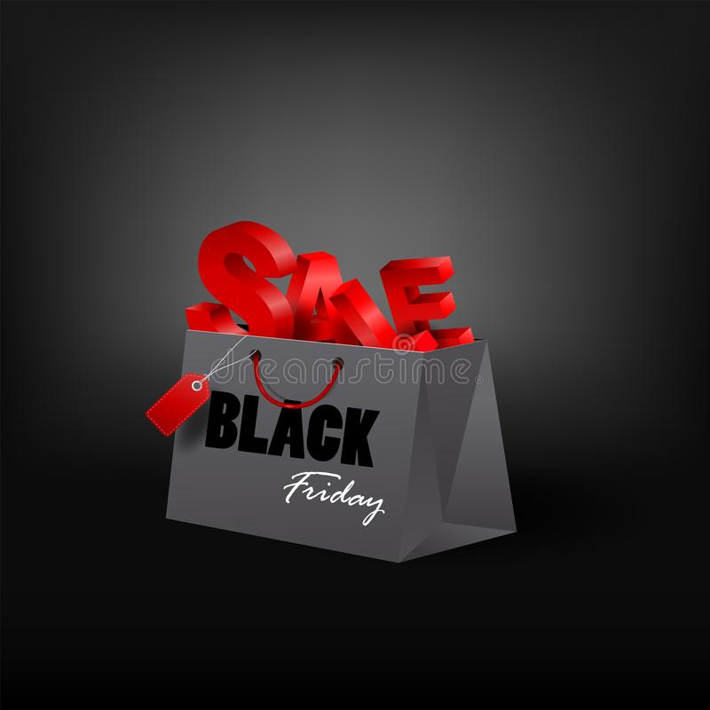 Panier de Black Friday y plantilla del márketing de la etiqueta de las ventas Vect ilustración del vector