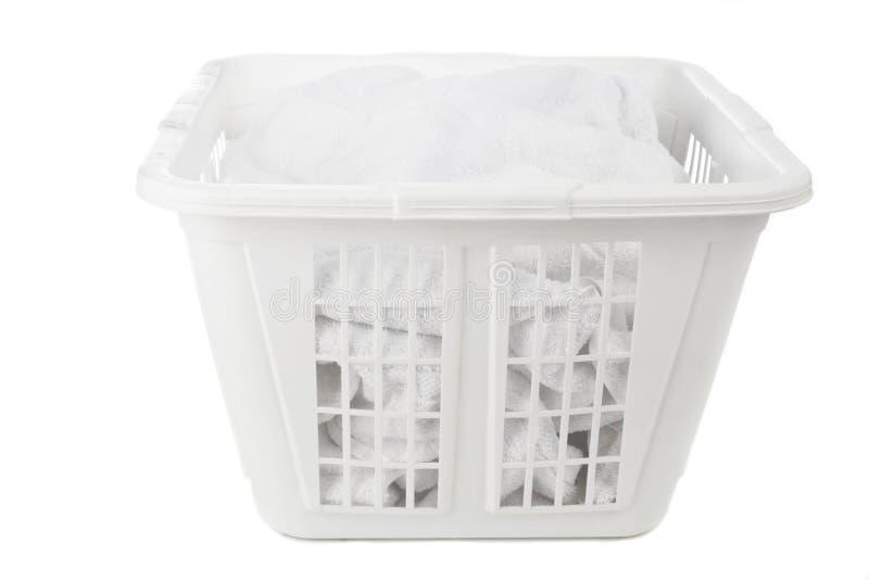 Panier de blanchisserie blanc photos stock
