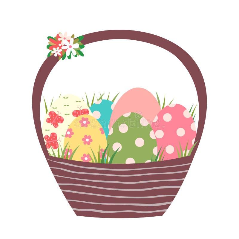 Panier de Brown Pâques avec les oeufs peints colorés illustration stock