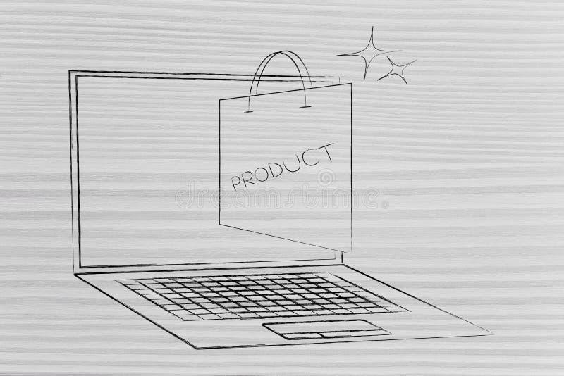 Panier de empaquetado del producto haciendo estallar fuera de la pantalla del ordenador portátil en a ilustración del vector