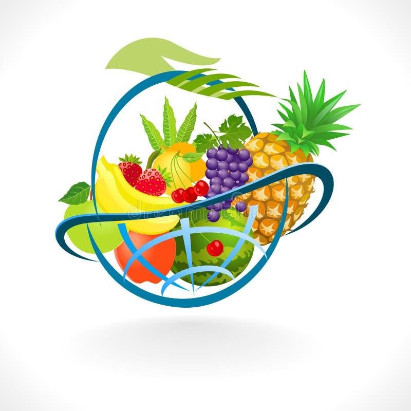Panier de fruits frais global illustration stock