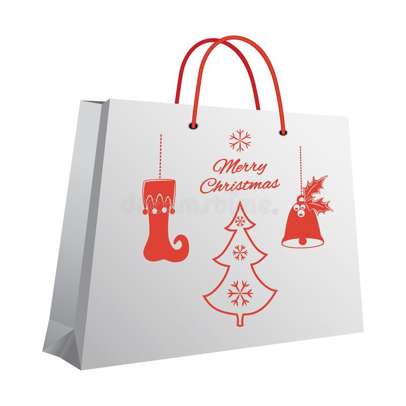 Panier de Noël avec un modèle imprimé du stockage rouge de pendants illustration de vecteur