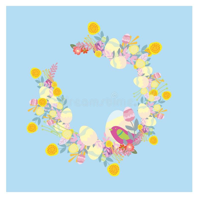 Panier de Pâques avec des oeufs Petits oiseaux drôles illustration stock