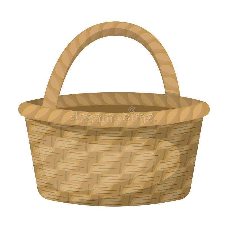 Panier de paille pour les fruits et légumes de transport dans le village Cultivez et icône simple de jardinage dans le vecteur de illustration de vecteur