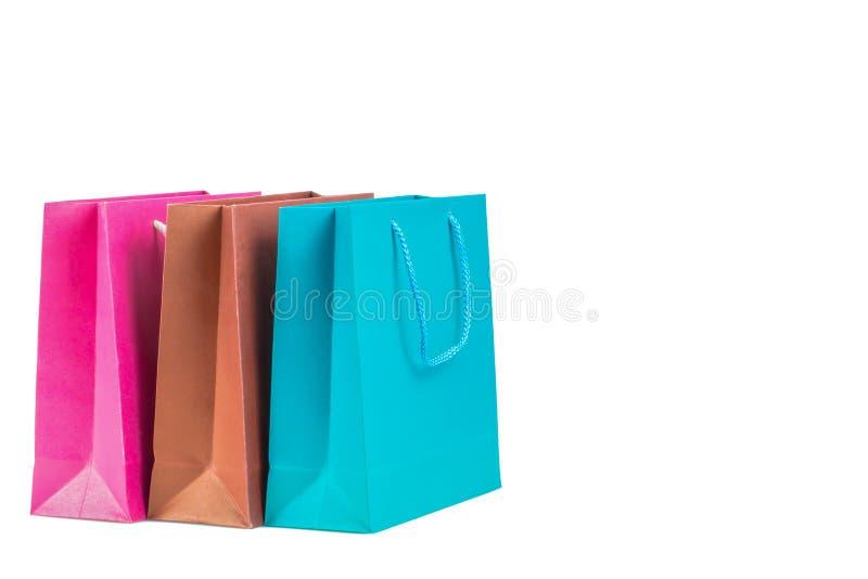 Panier de papier de couleur d'isolement sur le fond blanc photographie stock