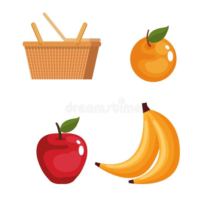 Panier de pique-nique avec la nourriture illustration stock