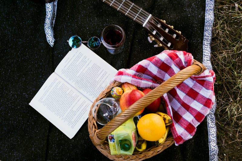 Panier de pique-nique avec le fruit et le jus photo stock