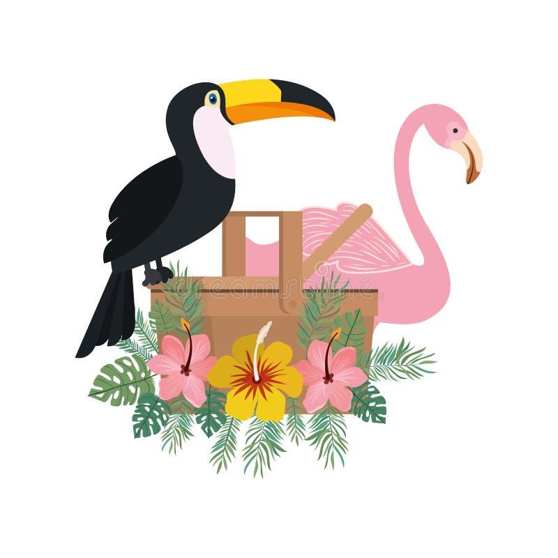 Panier de pique-nique avec le touca et Flamand sur le fond blanc illustration stock