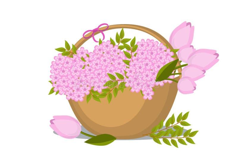 Panier de ressort de vecteur avec des fleurs et des feuilles dans le style plat Tulipes et fleurs de cerisier pour le magasin flo illustration stock