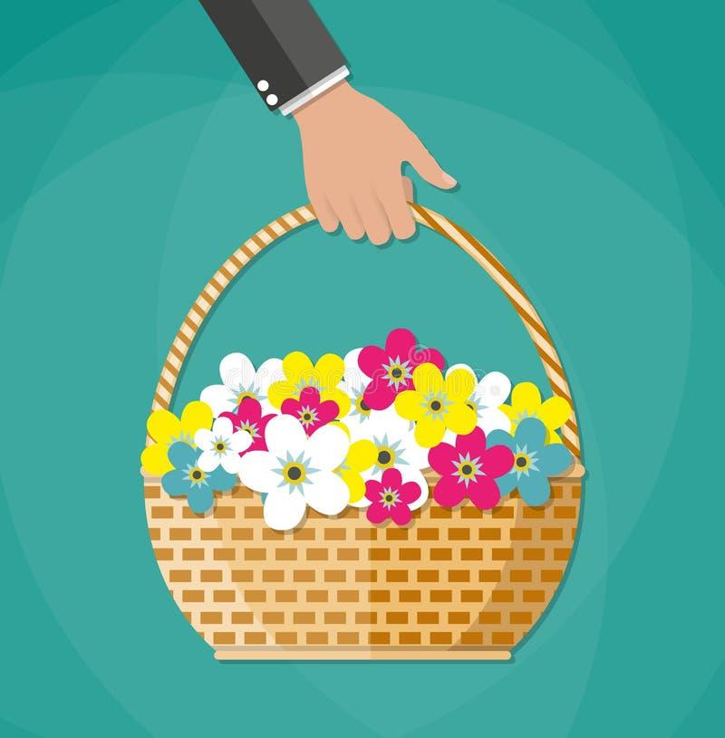 Panier de transport de main avec des fleurs illustration de vecteur