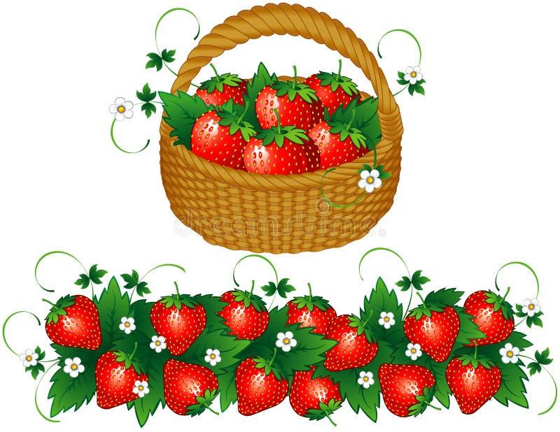 Panier des fraises illustration de vecteur