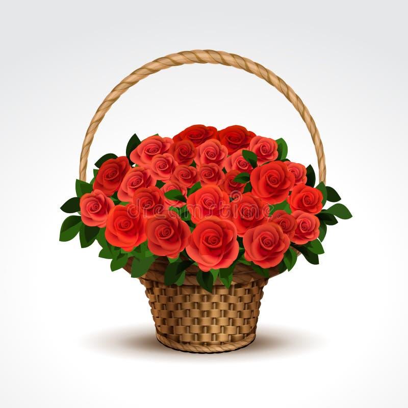 Panier des roses rouges d'isolement illustration stock
