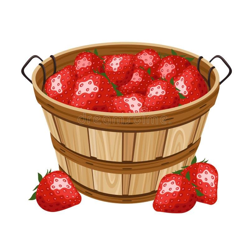 Panier en bois avec la fraise. Illustration de vecteur illustration stock