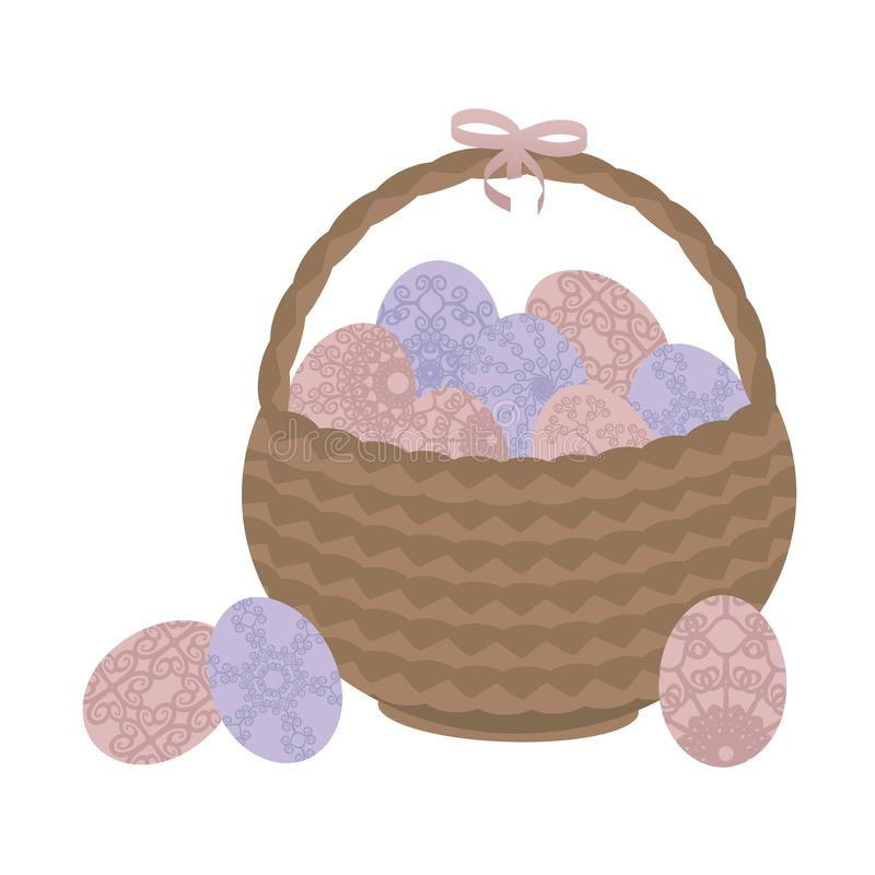 Panier en osier brun clair Pâques avec les fleurs modelées roses et les oeufs bleus et un arc rose d'isolement sur le fond blanc illustration libre de droits