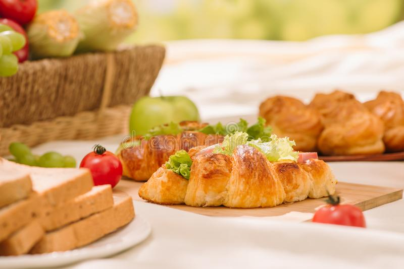 Panier en osier de pique-nique avec la nourriture, le pain, le fruit et le jus d'orange dessus photographie stock libre de droits