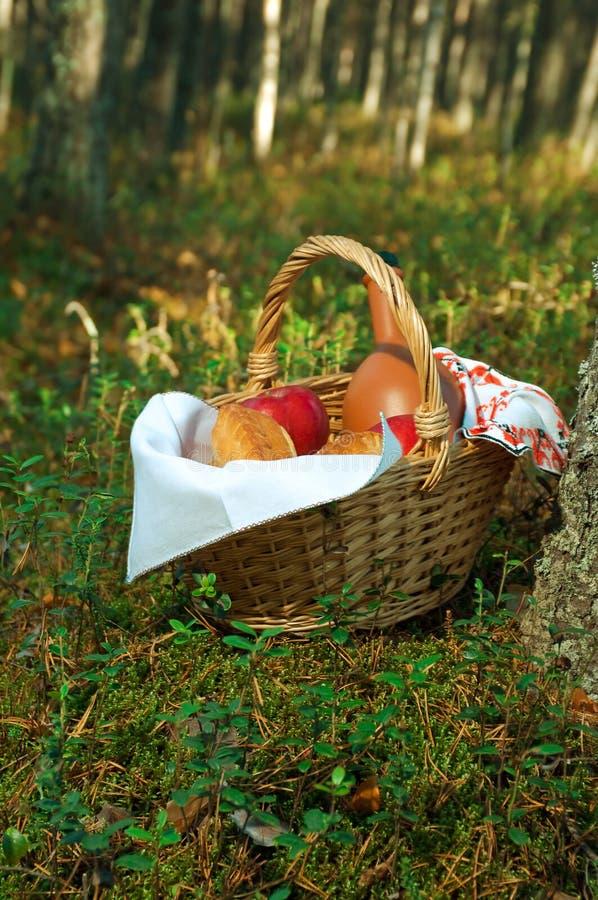 Panier en osier de pique-nique avec le pâté images libres de droits