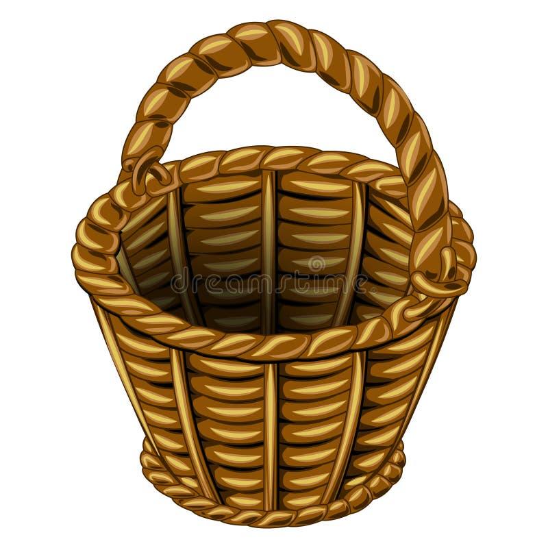 Panier en osier fait d'osier illustration de vecteur