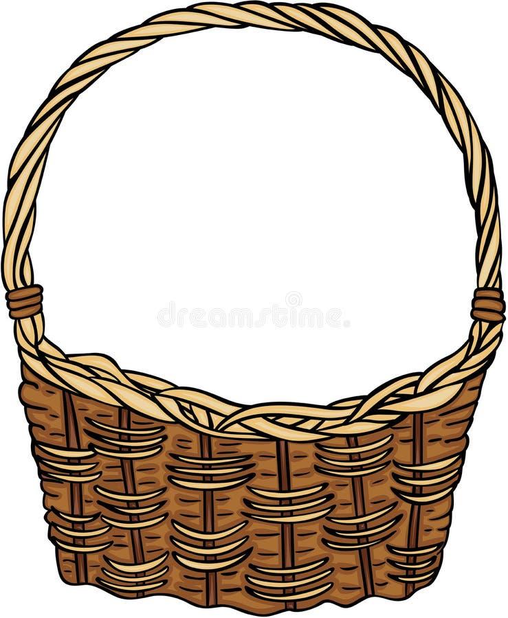 Panier en osier vide illustration stock