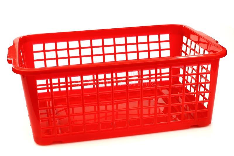 Panier en plastique rouge photo stock