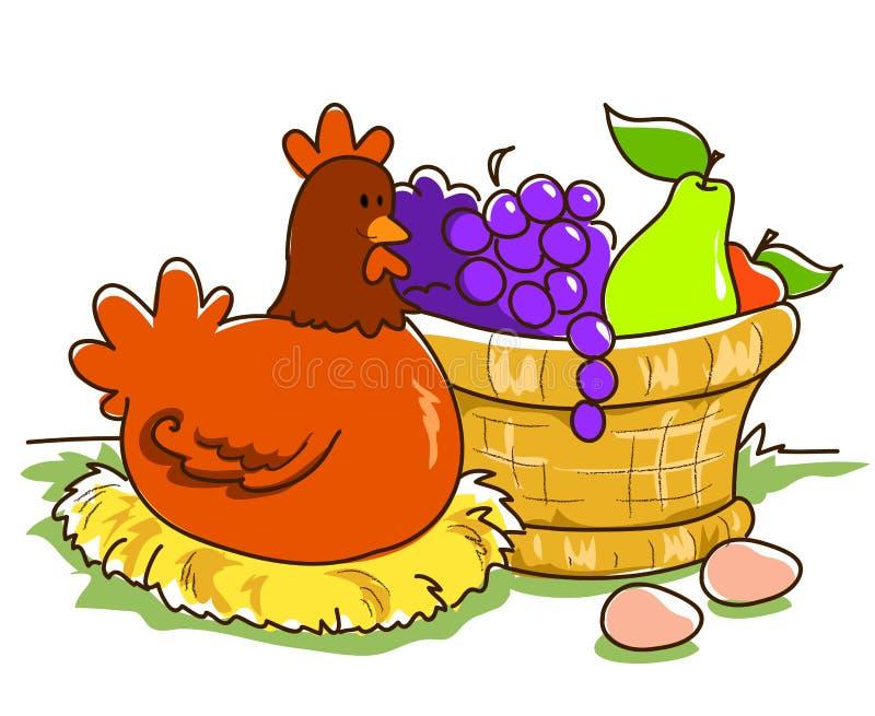 Panier et poule de fruit illustration de vecteur