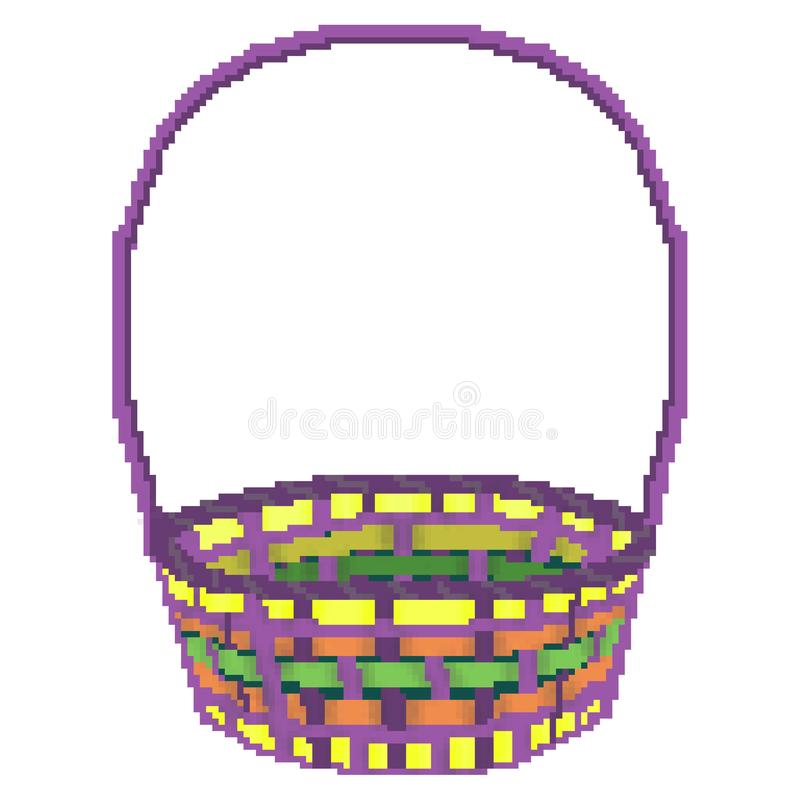Panier multicolore tiré de chasse d'oeuf de pâques de bit du pixel 8 illustration libre de droits