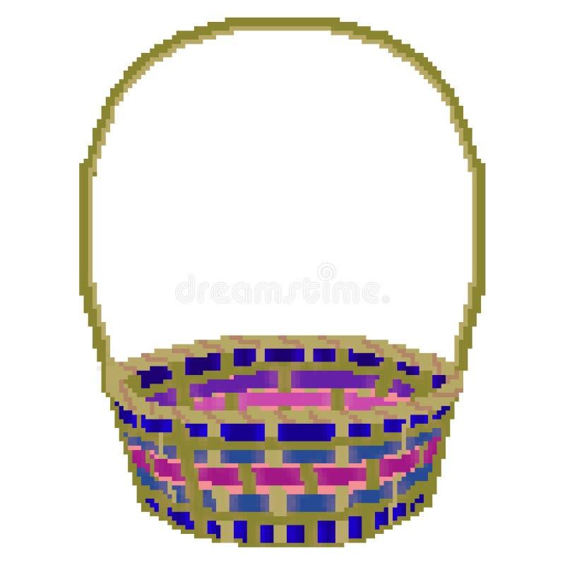 Panier multicolore tiré de chasse d'oeuf de pâques de bit du pixel 8 illustration stock