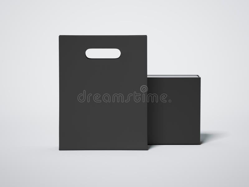Panier noir avec le paquet de luxe vide rendu 3d illustration libre de droits
