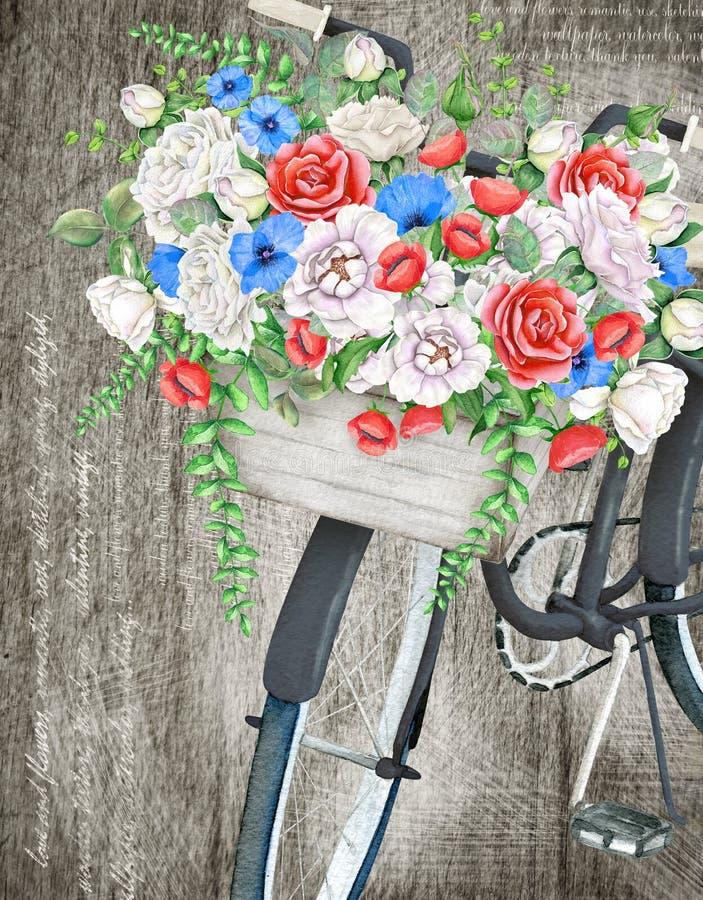 Panier noir de bicyclette et de fleur d'aquarelle illustration libre de droits
