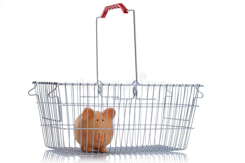 Panier shoping en acier d'isolement sur le blanc images stock