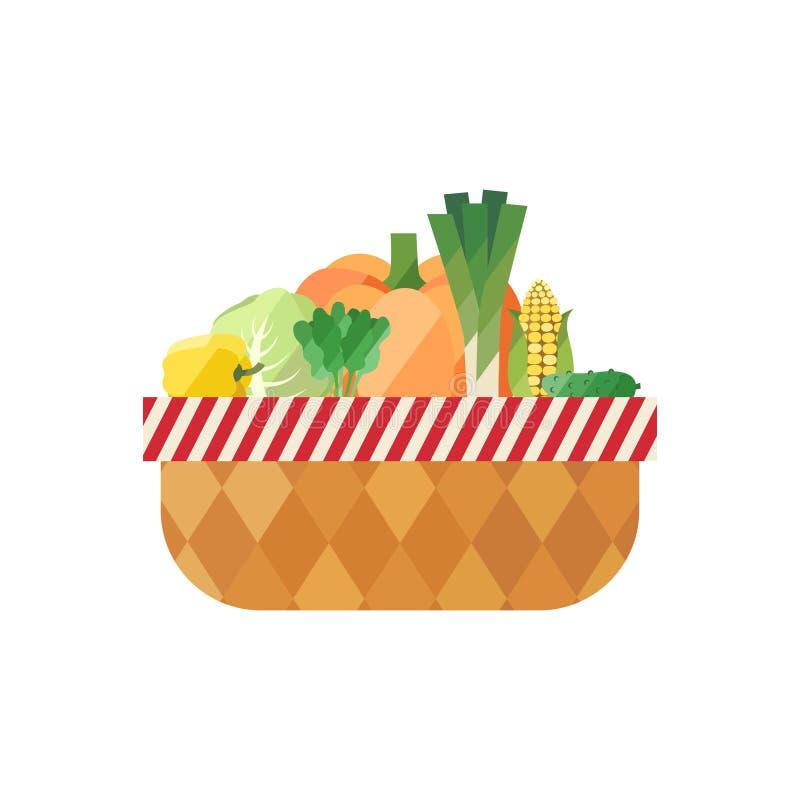Panier végétal d'isolement (poivre, chou, épinards, potiron, poireau, maïs, concombre) Conception plate moderne illustration libre de droits